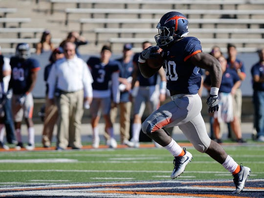 UTEP freshman running back Joshua Fields breaks a run