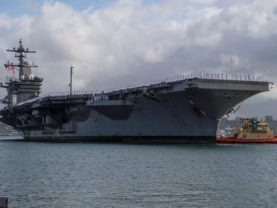 The Nimitz-class aircraft carrier USS Carl Vinson returns to its homeport in San Diego on Thursday. Carl Vinson returned to San Diego from a three-month deployment from operations in the Indo-Pacific.