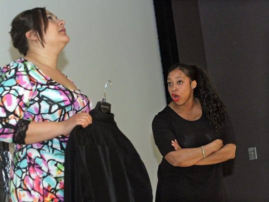 """A Community Theater production of """"Soul Time"""" is rehearsed at Raritan Bay Area YMCA. Margarita Feliciano, left, and Tiffany Johnson, run through a scene. """"Soul Time"""" will be performed Friday and Saturday, May 8-9, at 7 p.m. at the YMCA Theater, 357 New Brunswick Ave., Perth Amboy.  $10 tickets are available at the door on a first-come basis; to reserve seats, contact: (732) 376-1566, or suzan31@aol.com."""