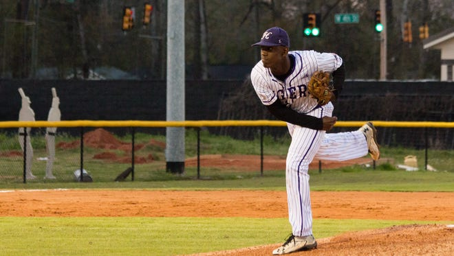 Hattiesburg pitcher Dexter Jordan delivers a pitch Tuesday during the Tigers' game against Pearl River Central in Hattiesburg.