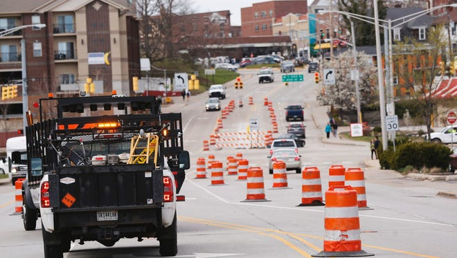 John Terhune/Journal & Courier Traffic barrels are placed along State Street west towards Chauncey Village Wednesday in West Lafayette. Traffic barrels are placed along State Street west towards Chauncey Village Wednesday, March 29, 2017, in West Lafayette.