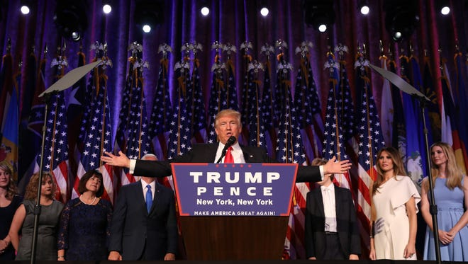 President-elect Donald Trump addresses the country after winning the election, around  3 a.m. in New York, Nov. 9, 2016. Trump said that he had received a phone call of congratulations from Hillary Clinton. (Damon Winter/The New York Times)