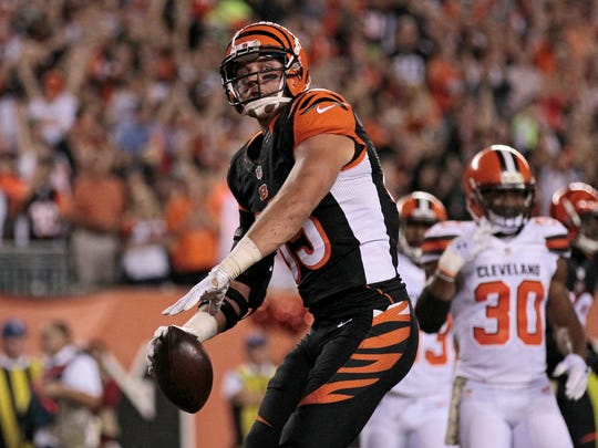 Cincinnati Bengals tight end Tyler Eifert (85) spikes the ball after scoring a touchdown in the first quarter of the NFL Week 9 game between the Cincinnati Bengals and the Cleveland Browns at Paul Brown Stadium in downtown Cincinnati on Thursday, Nov. 5, 2015.