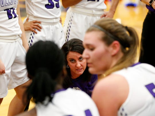 Brownsburg head coach Debbie Guckenberger talks to