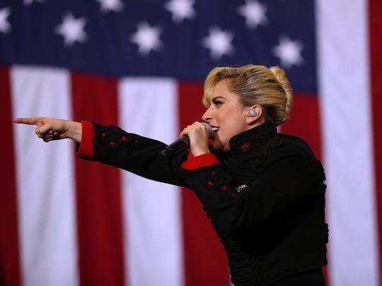 Lady Gaga performs during a campaign rally with Democratic presidential nominee Hillary Clinton at North Carolina State University on November 8, 2016.