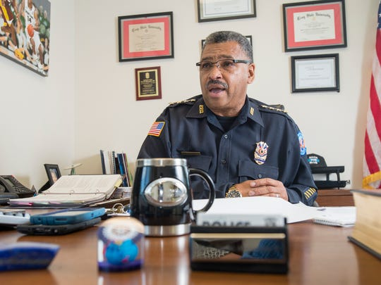 Pensacola Police Department Chief David Alexander III stands on Wednesday, March 29, 2017, at police headquarters in Pensacola.