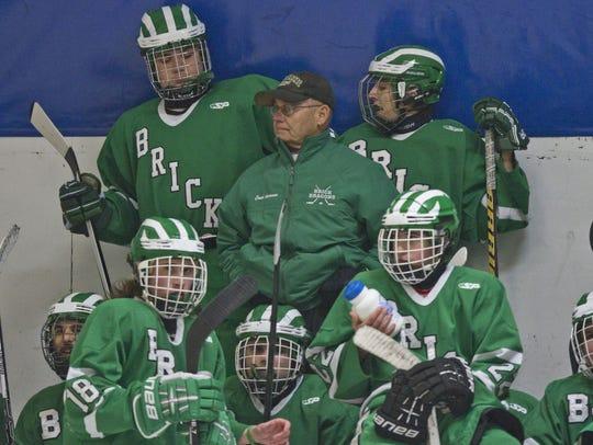 Brick vs St. John Vianney hockey game. Brick coach