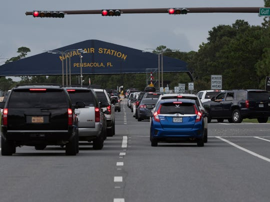 Homeowners along Gulf Beach Highway say the county isn't doing enough to ease gridlock on the busy roadway when the Blue Angels practice at Pensacola Naval Air Station. Traffic on the road is pictured on Wednesday, Aug. 9, 2017.