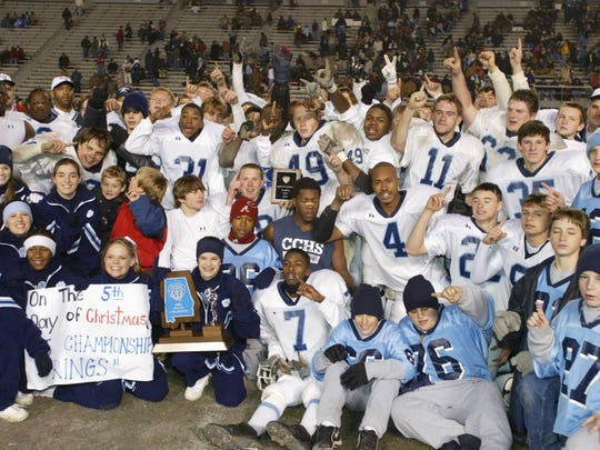 The Clay County Panthers, shown after their 2002 state championship, won six state titles before the school closed in 2012.