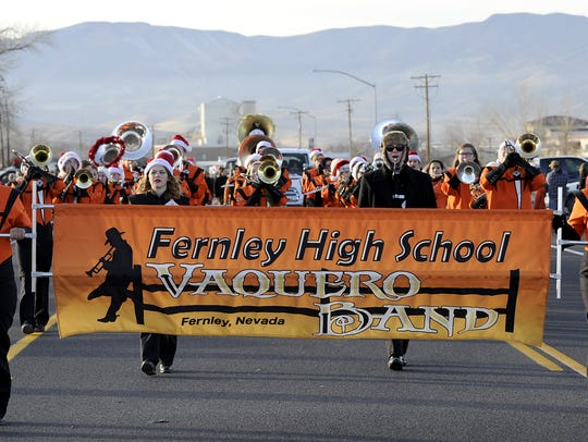 Fernley High School's marching band performs in the