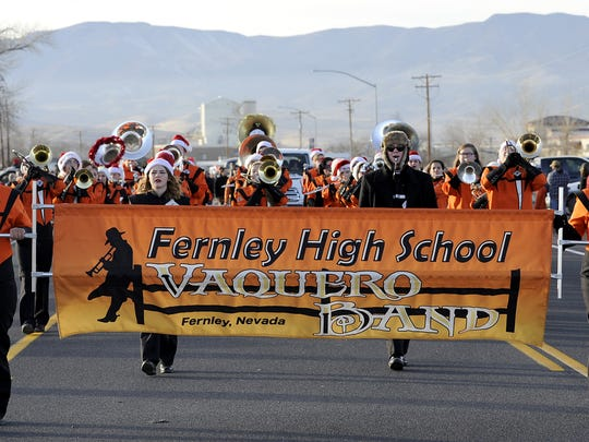 Fernley High School's marching band performs in the parade.