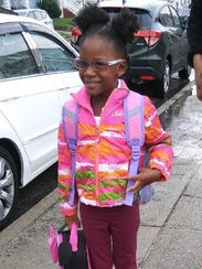 Janessa Sims on her first day of school. Six weeks