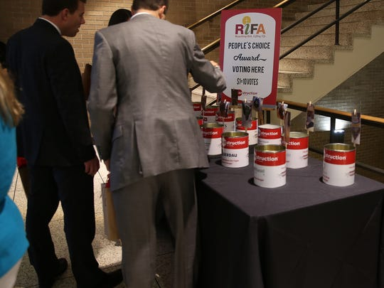 Attendees could vote for their favorite canstruction at the Civic Center during the RIFA Canstruction. Winning the People's Choice award was Fellowship Bible Church.