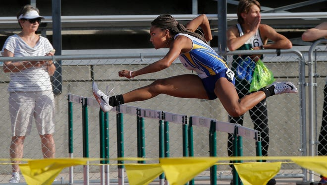 Agoura High's Tara Davis, shown competing in the hurdles at the Ventura County Championships on April 27, ran a 12.89 in the 100-meter hurdles at the CIF-Southern Section Division 2 Track and Field PrelimS.