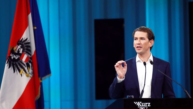 Sebastian Kurz speaks at his election campaign rally in Vienna, Austria, on Sept. 23, 2017. Austrian voters gave conservative Kurz a mandate to form a new government, setting up a potential coalition with the nationalist Freedom Party, according to projections based on partial returns. (Pan Xu/Xinhua/Sipa USA/TNS)