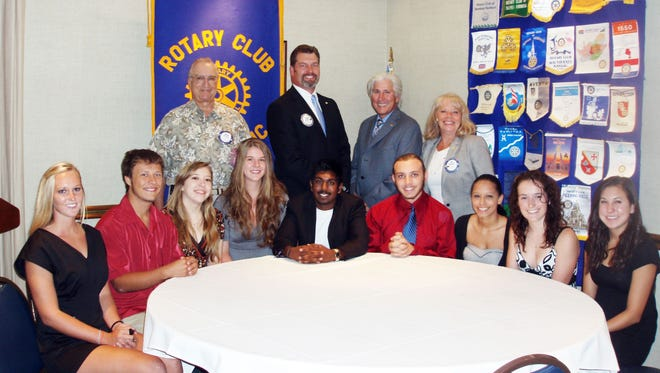 For FLORIDA TODAY Scholarship winners from left: Allison Downey, Matthew Kemmerer, Ashley Philbeck, Evie Maddox, Justin Ramsaran, Brandon Baxter, Yael Rivera, Bella Schultz and Dominique Wehner. Not pictured: Sarah Scharf. Back row: Bruce Heeb and Jay Anderson of Rotary Club of Indialantic; Ken Stackpoole, Florida Tech senior vice president and chief development officer; and Sue Parker of Rotary Club of Indialantic.