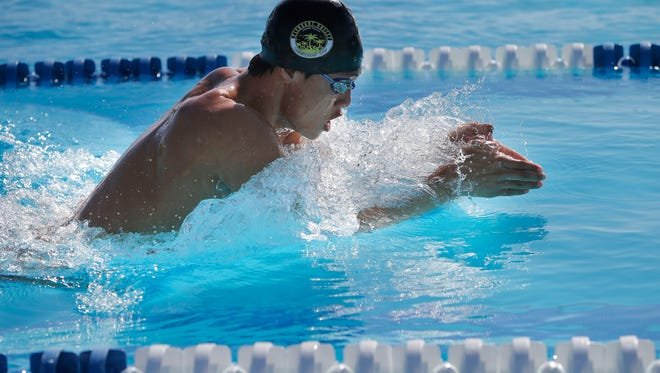 Newbury Park's Jason Lu broke the school record in the 100-yard breaststroke, winning a Marmonte League title in the event, and also won the league title in the 200 individual medley.