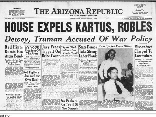 Oct. 2, 1948, edition of The Arizona Republic announcing