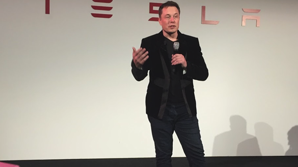Elon Musk speaking to press