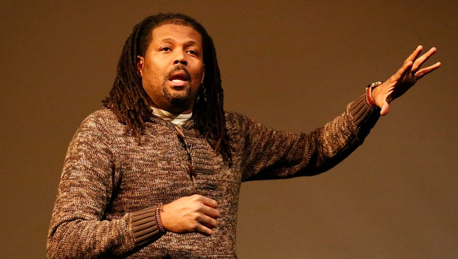Madison police officer Corey Saffold talks about the paradox of being a black officer at UW Fond du Lac Prairie Theater on Wednesday.