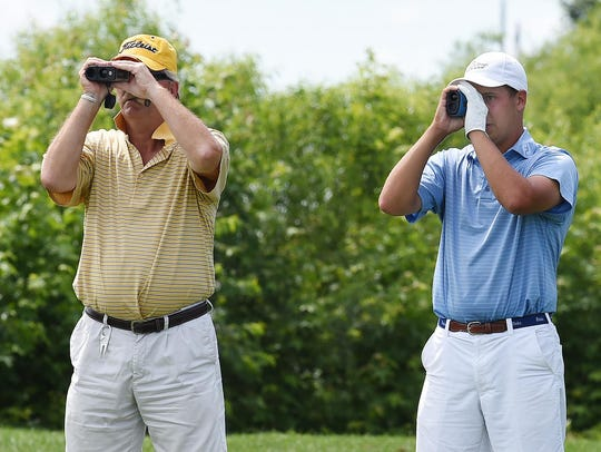 Michael Chanaud, right, from Bear Trap Dunes Golf Club