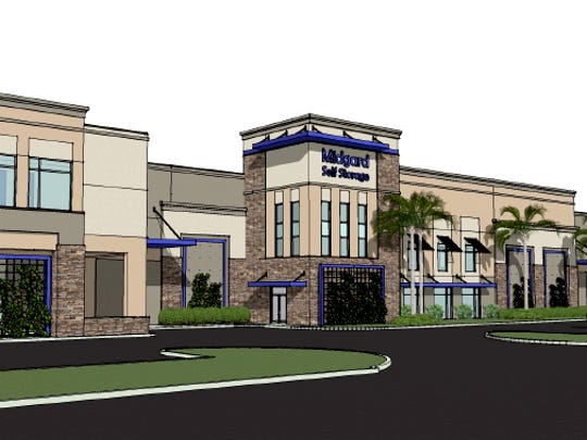 A conceptual sketch of Midgard Self Storage, the first business under construction in Vanderbilt Commons, a commercial project on Vanderbilt Beach Road west of Collier Boulevard.