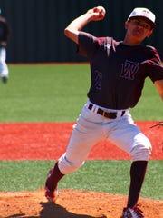 Tularosa junior Dawson Prudencio throws a pitch during the Class 3A quarterfinal Wednesday afternoon.