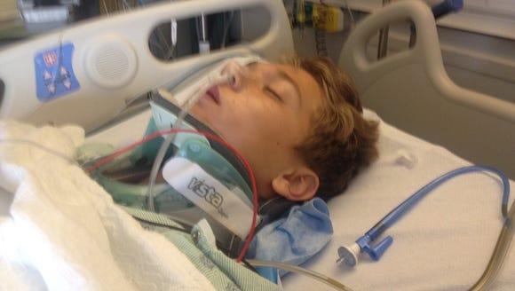Daniel High School senior Chris Aurich was kept unconscious