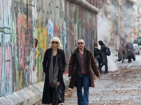 "-Charlize Theron and James McAvoy in ""Atomic Blonde."""