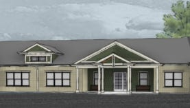 Azura LLC's residential memory care facility proposed for Brookfield would feature four one-story buildings with various color schemes.