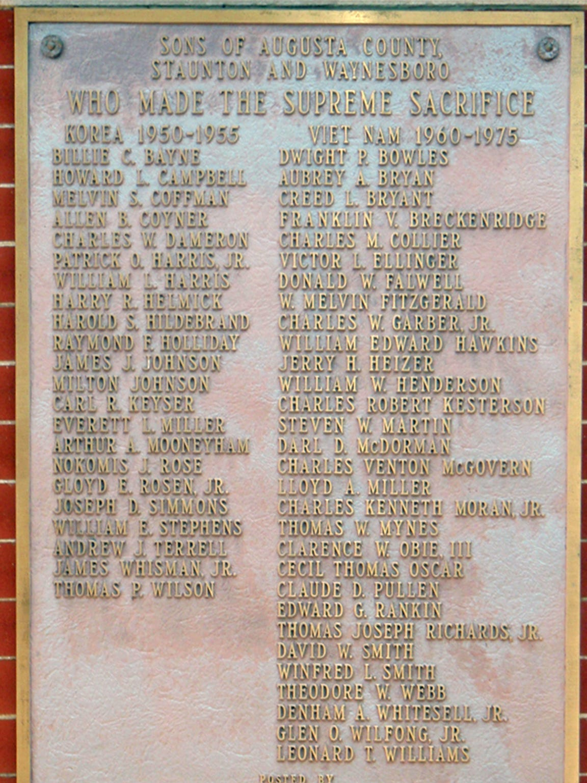 Best friends Bo Obie and Lin Williams are together for eternity on the plaque at the Augusta County Courthouse honoring service personnel who died in the Korean and Vietnam Wars.