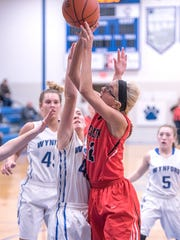 Bucyrus' Ashtyn Simms shoots over Wynford's Lyndie