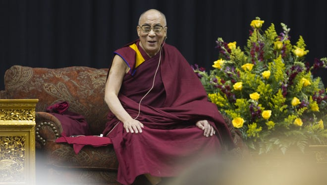 His Holiness, the 14th Dalai Lama of Tibet, spoke to about 8,000 people on May 14, 2010, at Conseco Fieldhouse in Indianapolis.