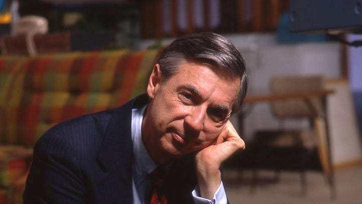 "Fred Rogers on the set of his show ""Mister Rogers'"
