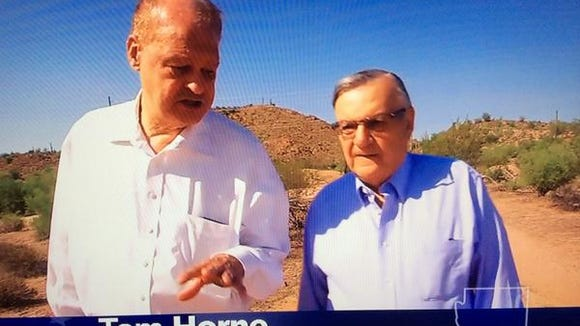 Arizona Attorney General Tom Horne (left) and Maricopa County Sheriff Joe Arpaio from a Horne campaign ad.