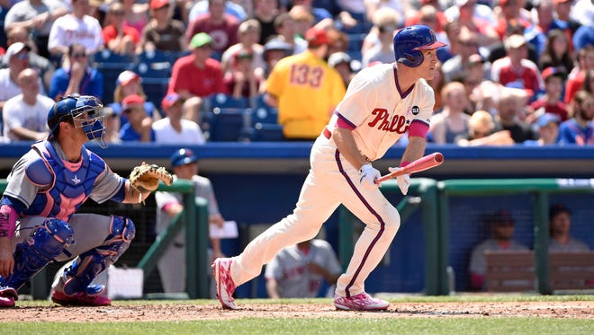 Phillies second baseman Chase Utley (26) watches his double in the fourth inning against the Philadelphia Phillies at Citizens Bank Park.