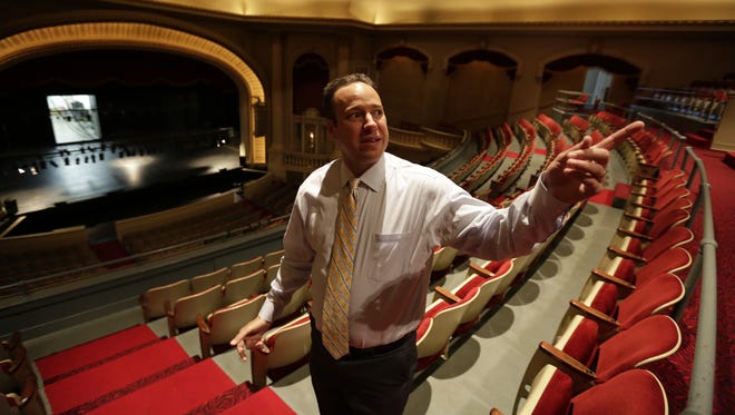 Executive director Sean Wright gives a tour for USA TODAY NETWORK-Wisconsin's reporter Mitch Skurzewski Wednesday afternoon at The Grand Theater in downtown Wausau.