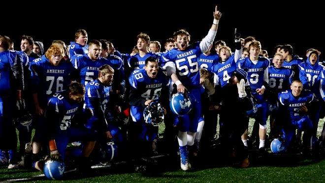 Amherst players hope to celebrate a third straight Division 5 playoff state championship when the Falcons take on Lake Country Lutheran in the title game Thursday at Camp Randall Stadium in Madison.