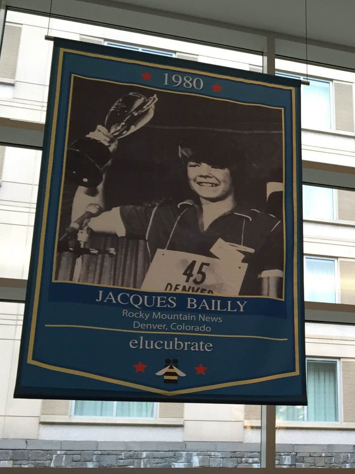 During Scripps Bee week, banners depicting past national
