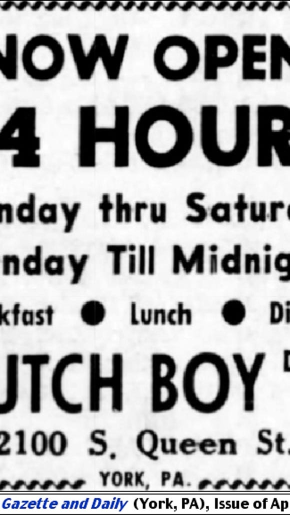 Dutch Boy Drive-In ad announcing 24-hour operation, appearing in the April 2, 1969 issue of The Gazette and Daily