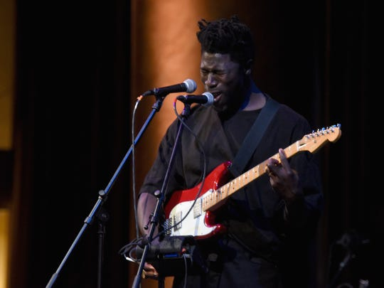 Moses Sumney plays the Unitas Gala Against Human Trafficking on Sept. 12, 2017, in New York City.