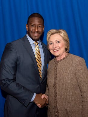 Mayor of Tallahassee Andrew Gillum with Hillary Clinton