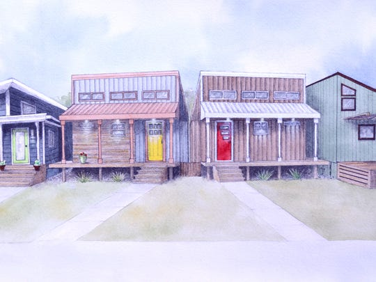 """A sketch from TA Forsberg Inc.of what a """"pocket neighborhood"""" on Haven Street in Eaton Rapids might look like"""