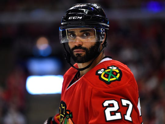 May 18, 2014: Chicago Blackhawks defenseman Johnny Oduya (27) during the third period in game one of the Western Conference Final of the 2014 Stanley Cup Playoffs at United Center. Chicago Blackhawks defeats the Los Angeles Kings 3-1.