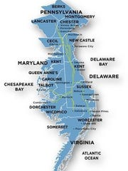 A map of the natural gas pipeline operated by Eastern Shore.