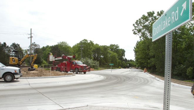 Construction nears an end in the roundabout at the intersection of Chilson and Coon Lake Roads.