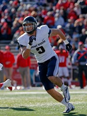 Utah State linebacker Kyler Fackrell during the first half of an NCAA college football game against New Mexico in Albuquerque, N.M., Saturday, Nov. 7, 2015. (AP Photo/Andres Leighton)