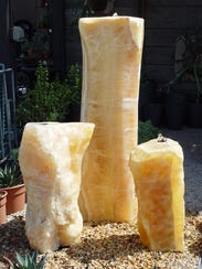 Golden quartz pillars produce a stunning sculptural