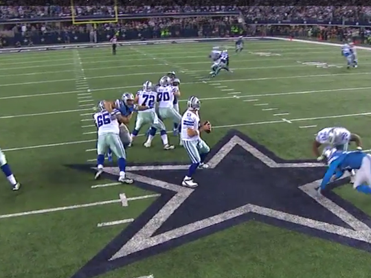 A freeze-frame from NFL Game Rewind of the hold on Ndamukong Suh in the fourth quarter against the Dallas Cowboys on Jan. 4, 2015.