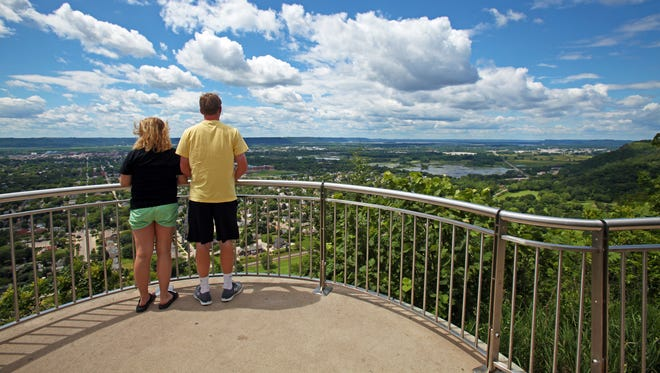 A scenic overlook on Granddad Bluff provides views of La Crosse and the Mississippi River.